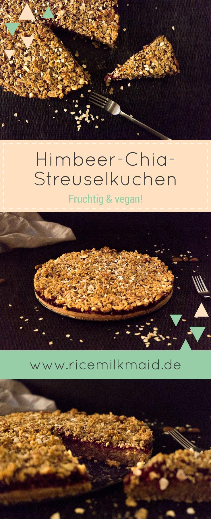 Fruchtiger Himbeer-Chia-Streuselkuchen. Komplett vegan und ziemlich gesund. ♥ | Ricemilkmaid Blog